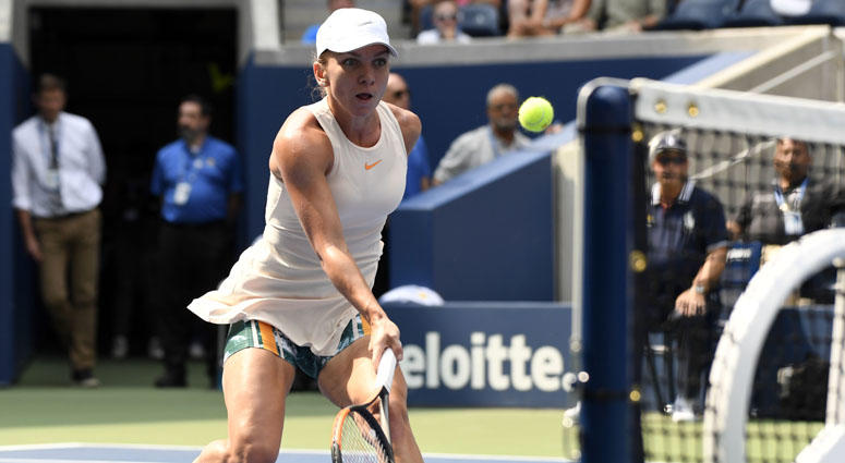 Simona Halep hits to Kaia Kanepi (not pictured) on Day 1 of the U.S. Open on Aug. 27, 2018, at USTA Billie Jean King National Tennis Center.