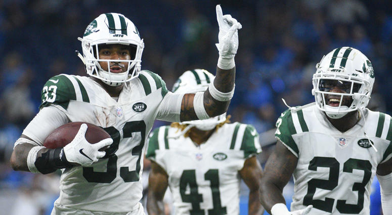 Jets defensive back Jamal Adams celebrates his interception against the Lions on Sept. 10, 2018, at Ford Field in Detroit.
