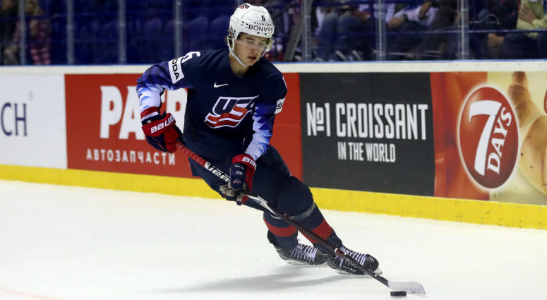 KOSICE, SLOVAKIA - MAY 15: Jack Hughes of United States skates against Great Britain during the 2019 IIHF Ice Hockey World Championship Slovakia group A game between United States and Great Britain at Steel Arena on May 15, 2019 in Kosice, Slovakia. (Phot