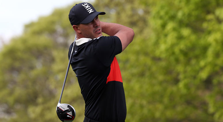 Brooks Koepka plays his shot from the second tee during the final round of the PGA Championship golf tournament at Bethpage State Park - Black Course.