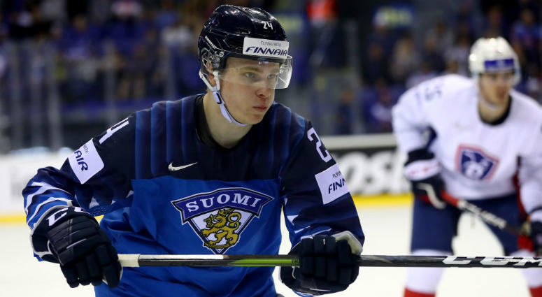 KOSICE, SLOVAKIA - MAY 19: Kaapo Kakko #24 of Finland skates against France during the 2019 IIHF Ice Hockey World Championship Slovakia group A game between France and Finland at Steel Arena on May 19, 2019 in Kosice, Slovakia.