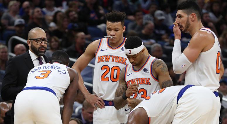 Nov 18, 2018; Orlando, FL, USA; New York Knicks head coach David Fizdale huddles up against the Orlando Magic during the second half at Amway Center. Mandatory Credit: Kim Klement-USA TODAY Sports