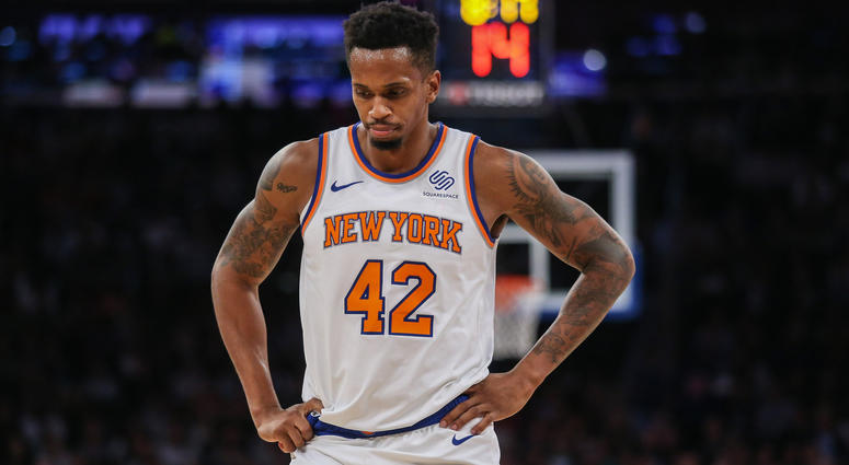 Oct 20, 2018; New York, NY, USA; New York Knicks forward Lance Thomas (42) at Madison Square Garden. Mandatory Credit: Wendell Cruz-USA TODAY Sports