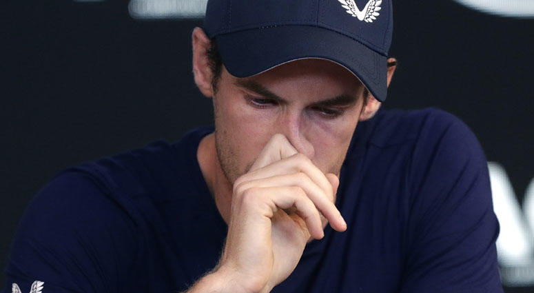 Andy Murray reacts during a news conference at the Australian Open tennis championships in Melbourne, Australia, on Jan. 11, 2019.