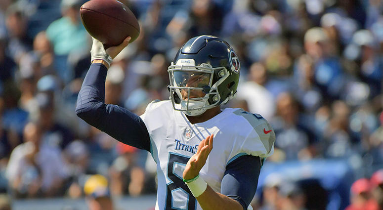 Sep 30, 2018; Nashville, TN, USA; Tennessee Titans quarterback Marcus Mariota (8) passes against the Philadelphia Eagles during the first half at Nissan Stadium. Mandatory Credit: Jim Brown-USA TODAY Sports
