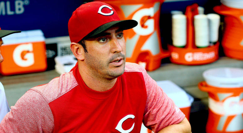 Cincinnati Reds pitcher and former Mets pitcher Matt Harvey looks on against the New York Mets at Citi Field.