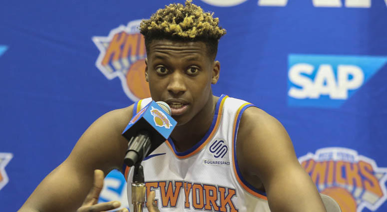 Knicks guard Frank Ntilikina speaks at Media Day on Sept. 24, 2018, in Greenburgh, New York.