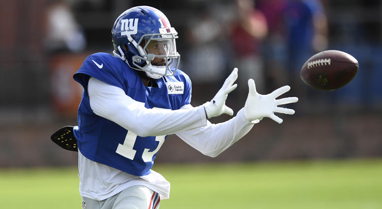 Giants wide receiver Odell Beckham Jr. catches a pass at training camp on Aug. 1, 2018, in East Rutherford, New Jersey.