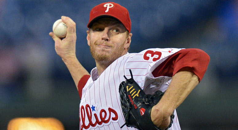 Roy Halladay of the Philadelphia Phillies delivers a pitch on Sept. 17, 2013, against the Miami Marlins at Citizens Bank Park in Philadelphia.