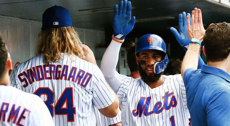 The Mets' Amed Rosario is congratulated after hitting a solo run home run against the Arizona Diamondbacks during the sixth inning on May 20, 2018, at Citi Field.
