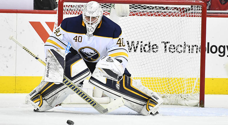 Buffalo Sabres goaltender Robin Lehner makes a save against the Washington Capitals during the second period at Capital One Arena on Feb 24, 2018.