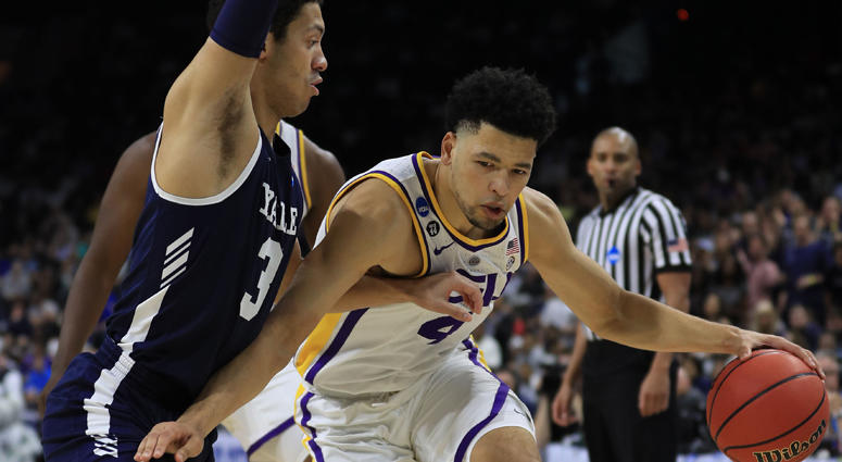 Skylar Mays of LSU dribbles against Alex Copeland of Yale in the first round of the 2019 NCAA men's basketball tournament on March 21, 2019, in Jacksonville, Florida.