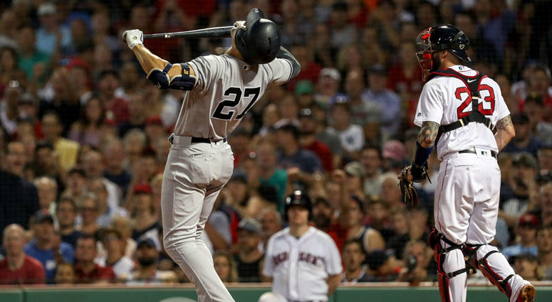 Yankees left fielder Giancarlo Stanton reacts after striking out against the Red Sox on Aug. 2, 2018, at Fenway Park in Boston.