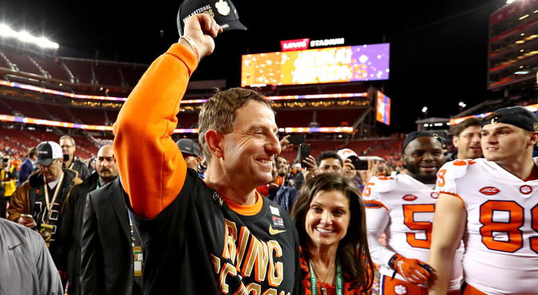 Jan 7, 2019; Santa Clara, CA, USA; Clemson Tigers head coach Dabo Swinney celebrates beating the Alabama Crimson Tide during the 2019 College Football Playoff Championship game at Levi's Stadium. Mandatory Credit: Matthew Emmons-USA TODAY Sports