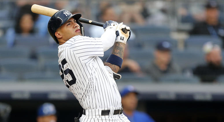 The Yankees' Gleyber Torres follows through on his second-inning home run against the Toronto Blue Jays at Yankee Stadium on June 25, 2019.