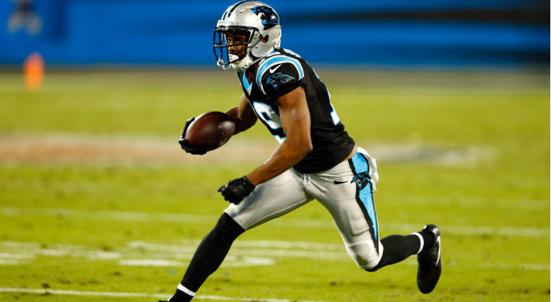 Russell Shepard runs after a reception in the third quarter against the Miami Dolphins at Bank of America Stadium in Charlotte.
