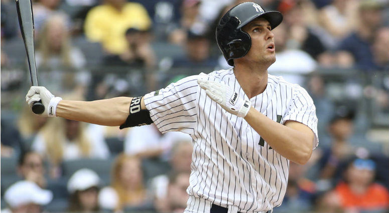 Greg Bird hits a solo home run in the seventh inning against the Houston Astros at Yankee Stadium.