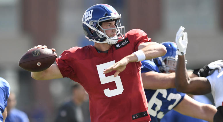 Giants quarterback Davis Webb passes during training camp Aug. 1 in East Rutherford, New Jersey.