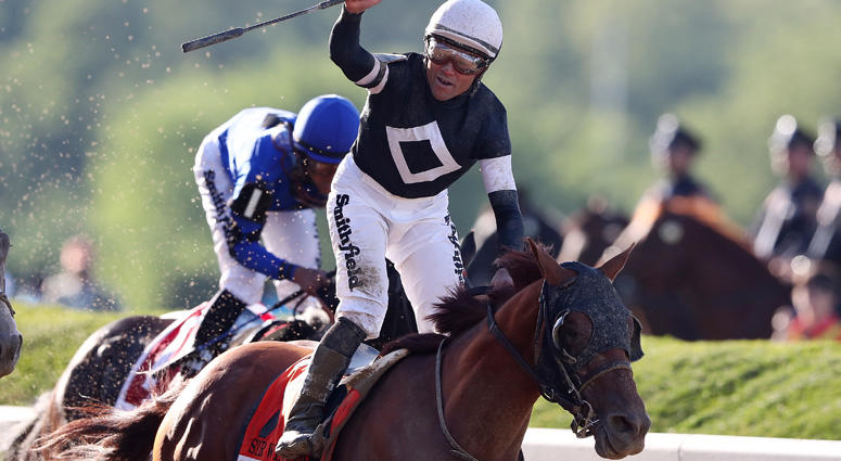 Sir Winston with Joel Rosario celebrates after winning the Belmont Stakes during the 151th running of the Belmont Stakes at Belmont Park on June 08, 2019 in Elmont, New York.