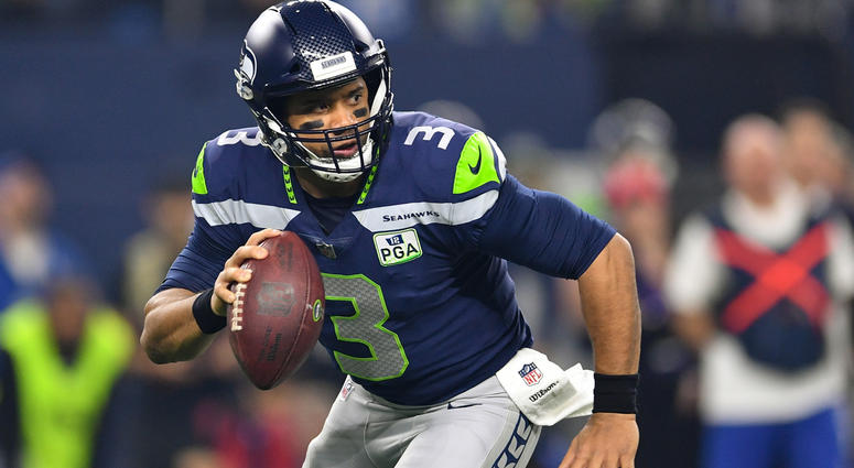 Jan 5, 2019; Arlington, TX, USA; Seattle Seahawks quarterback Russell Wilson (3) against the Dallas Cowboys in the first quarter in a NFC Wild Card playoff football game at AT&T Stadium. Mandatory Credit: Shane Roper-USA TODAY Sports