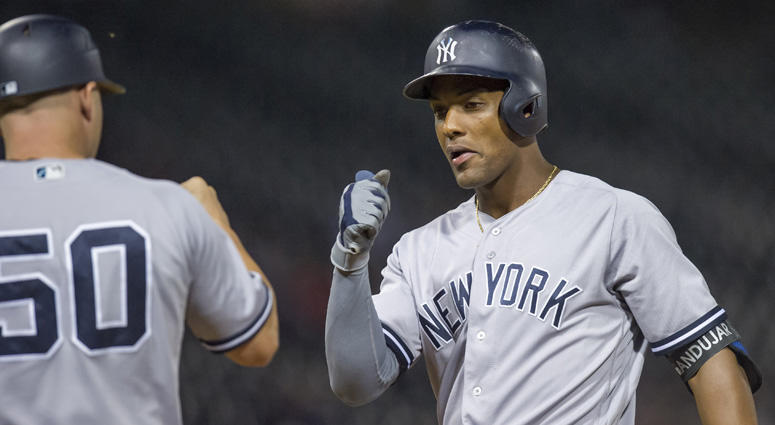 The Yankees' Miguel Andujar celebrates his RBI single during the 13th inning against the White Sox on Aug. 7, 2018, at Guaranteed Rate Field in Chicago.