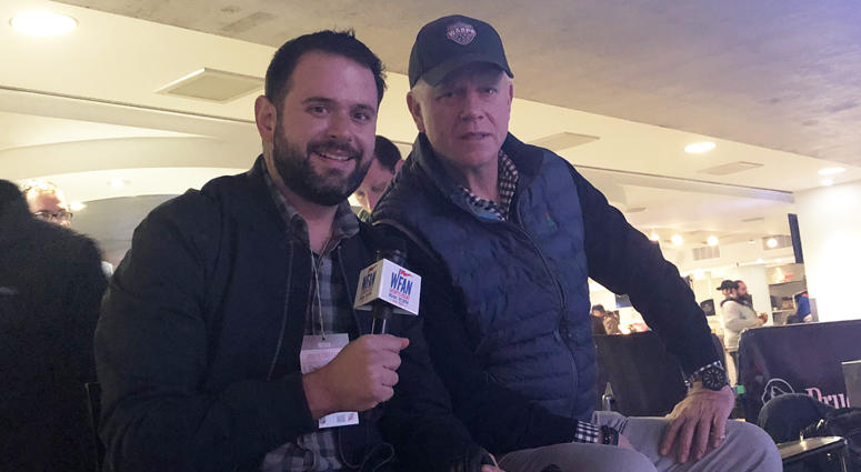 Boomer and Gio call the Devils vs. Islanders game on Feb. 7, 2019, at the Prudential Center.