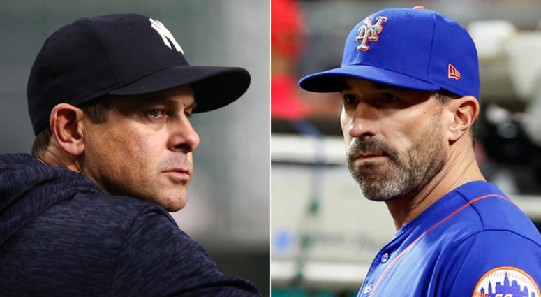 Yankees manager Aaron Boone (left) and Mets manager Mickey Callaway