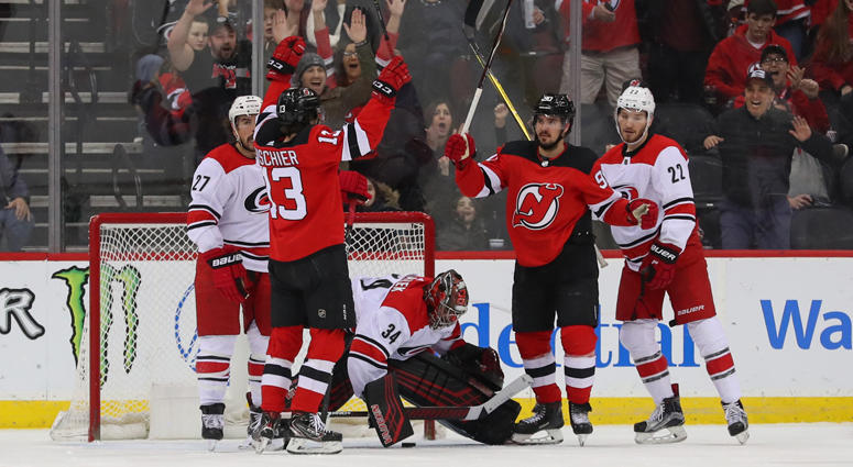 b952145f082 Devils left wing Marcus Johansson (second from right) celebrates after  scoring a goal during