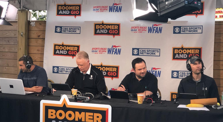 Boomer Esiason and Gregg Giannotti, along with Jerry Recco and Al Dukes, broadcast from the Headliner in Neptune, New Jersey, on May 25, 2018.