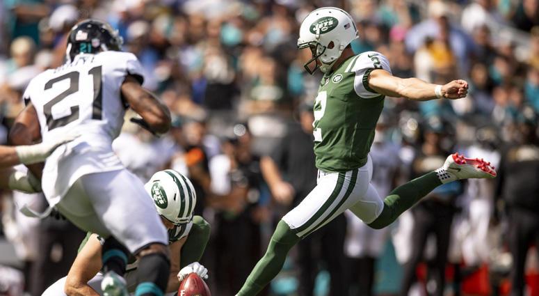 Jets punter Jason Myers kicks a field goal against the Jacksonville Jaguars on Sept. 30, 2018, at TIAA Bank Field.