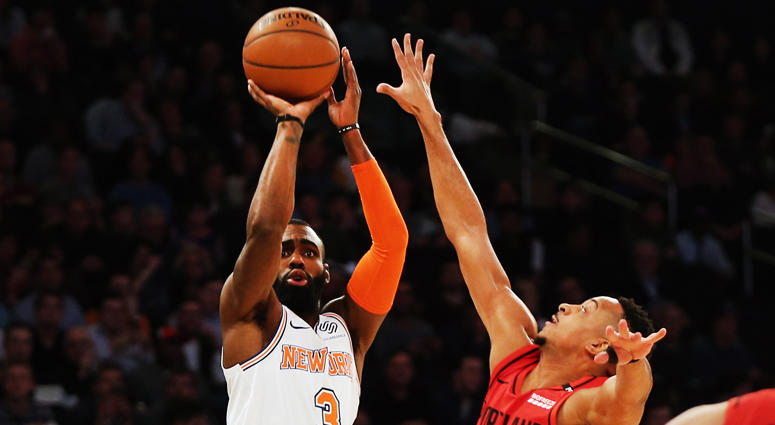 Knicks guard Tim Hardaway Jr. shoots against Portland Trail Blazers guard CJ McCollum on Nov. 20, 2018, at Madison Square Garden.