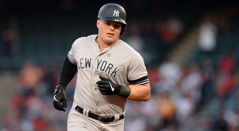 The Yankees' Luke Voit rounds the bases after hitting a solo home run against the Los Angeles Angels on April 23, 2019, at Angel Stadium of Anaheim.