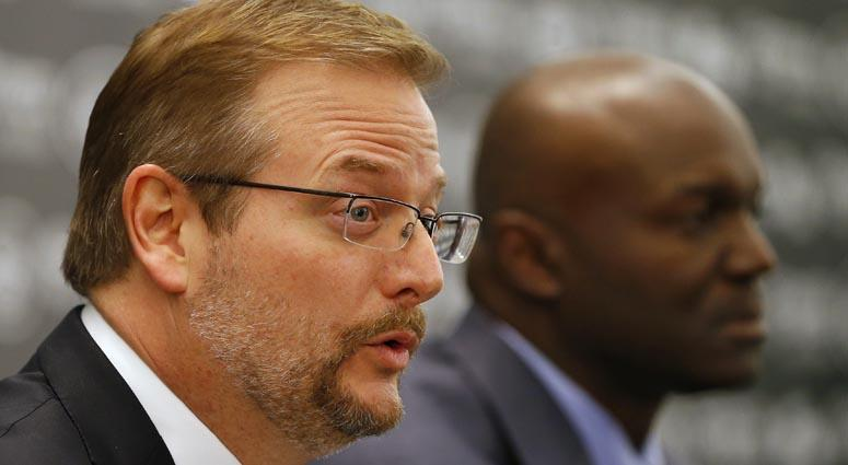 Jets general manager Mike Maccagnan (left) and coach Todd Bowles