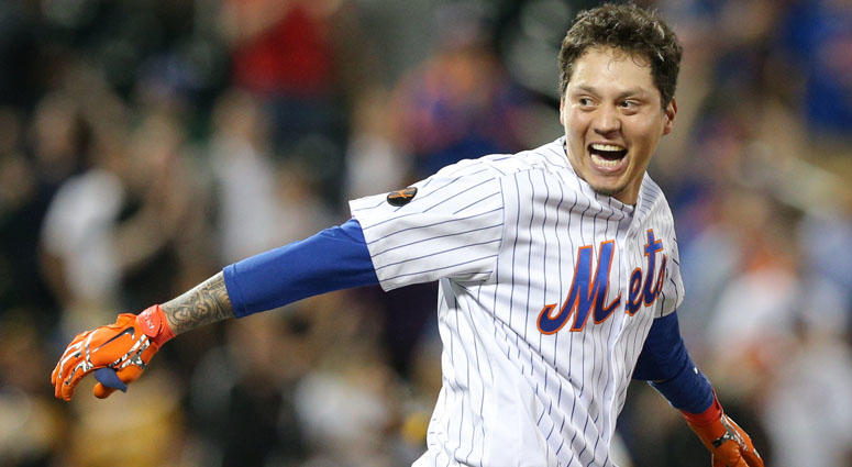 The Mets' Wilmer Flores celebrates after hitting a walk-off RBI single in the 10th inning against the Pittsburgh Pirates on June 26, 2018, at Citi Field.
