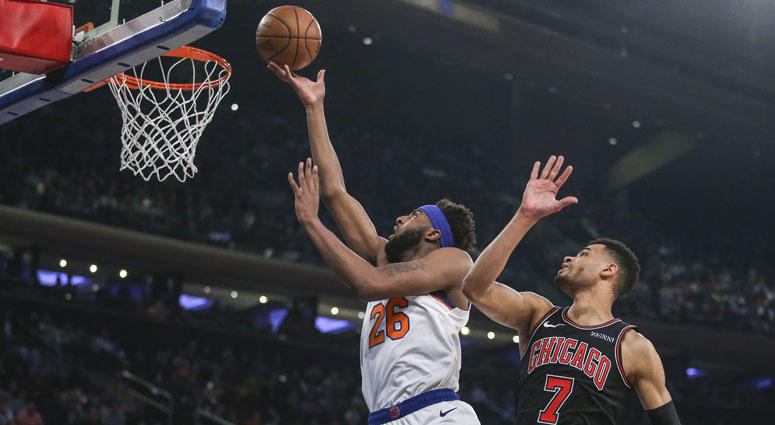 Knicks center Mitchell Robinson goes in for a layup against the Chicago Bulls on April 1, 2019, at Madison Square Garden.