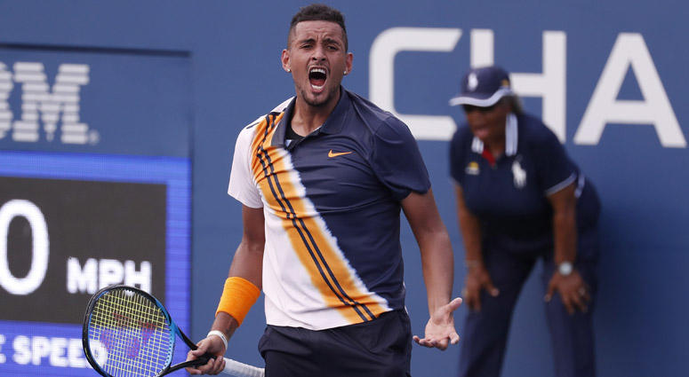 Nick Kyrgios celebrates match point against Pierre-Hugues Herbert in a second-round U.S. Open match on Aug. 30, 2018, at USTA Billie Jean King National Tennis Center.