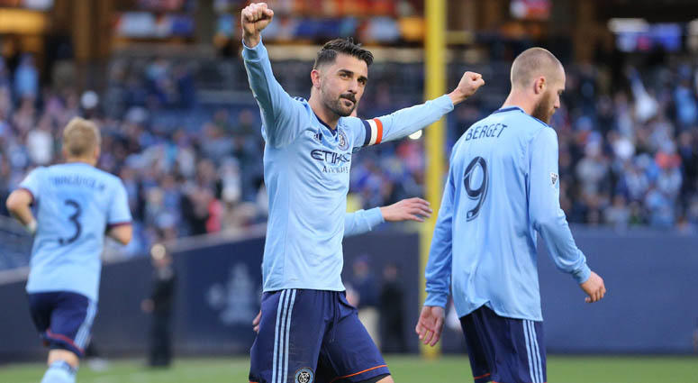 NYCFCs David Villa reacts after scoring on a penalty kick against FC Dallas on April 29, 2018, on at Yankee Stadium.
