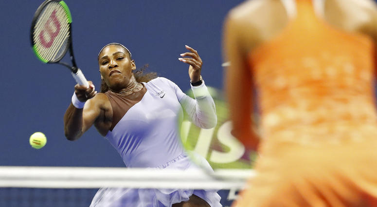 Serena Williams hits a forehand against Anastasija Sevastova in their U.S. Open semifinal match on Sept. 6, 2018, at the USTA Billie Jean King National Tennis Center.