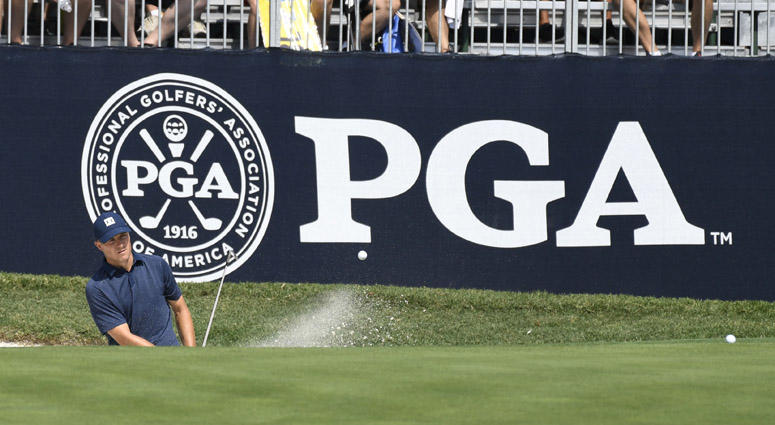 Jordan Spieth hits a bunker shot on the sixth hole during the Monday practice round of the PGA Championship golf tournament on Aug. 6, 2018, at Bellerive Country Club in St. Louis.