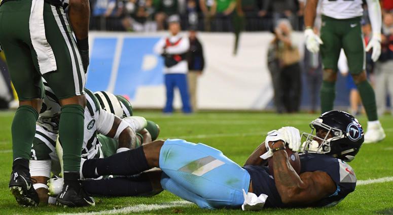 Titans wide receiver Corey Davis scores the winning touchdown on Dec. 2, 2018, against the New York Jets at Nissan Stadium in Nashville.