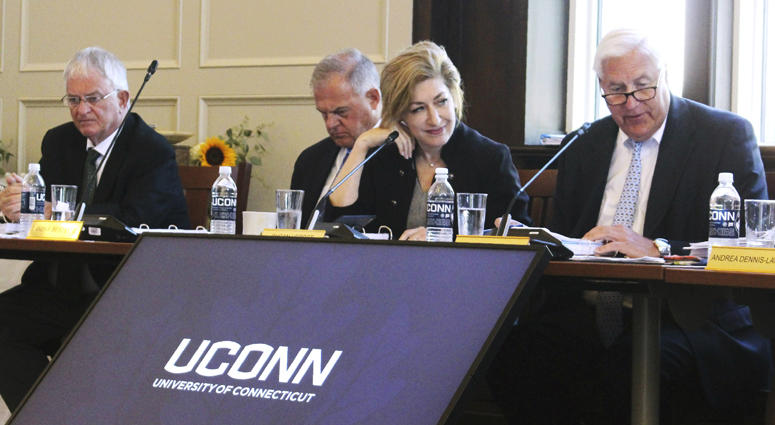 University of Connecticut Board of Trustees members attend a public board meeting on June 26, 2019, on the school's campus in Storrs, Connecticut.
