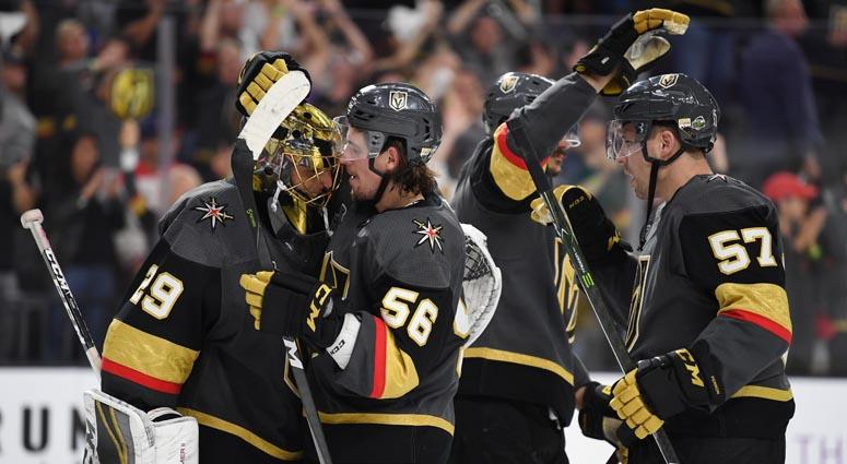 The Golden Knights celebrate after beating the Washington Capitals in Game 1 of the Stanley Cup Final on April 28, 2018, at T-Mobile Arena in Las Vegas..