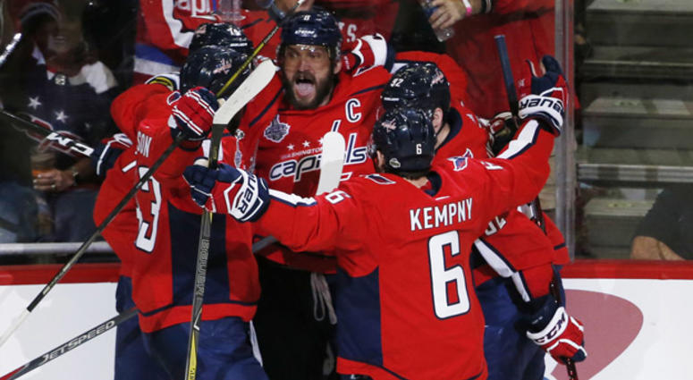 Washington Capitals left wing Alex Ovechkin (8) celebrates with teammates after scoring a goal against the Vegas Golden Knights in the second period in Game 3 of the Stanley Cup Final on June 2, 2018, at Capital One Arena in Washington, D.C.
