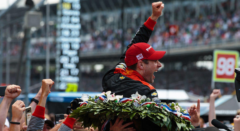 Will Power celebrates with crew after winning the 102nd running of the Indianapolis 500  on May 26, 2017, at Indianapolis Motor Speedway.