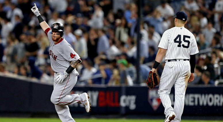 Red Sox catcher Christian V zquez reacts after hitting a solo home run against the New York Yankees in Game 4 of their ALDS on Oct. 9, 2018, at Yankee Stadium.