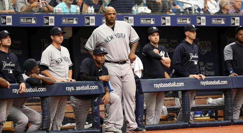 Yankees starting pitcher CC Sabathia (52) looks on from the dugout after he got ejected from the game during the sixth inning against the Tampa Bay Rays on Sept. 27, 2018, at Tropicana Field.