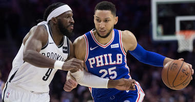 Philadelphia 76ers guard Ben Simmons (25) drives against Brooklyn Nets forward DeMarre Carroll (9) during the first quarter in game two of the first round of the 2019 NBA Playoffs at Wells Fargo Center.