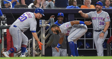 Mets first baseman Pete Alonso celebrates with shortstop Amed Rosario after hitting a two-run home run against the Braves on April 11, 2019, at SunTrust Park in Atlanta.