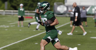 New York Jets' Valentine Holmes participates during practice at the NFL football team's training camp in Florham Park, N.J., Thursday, July 25, 2019.