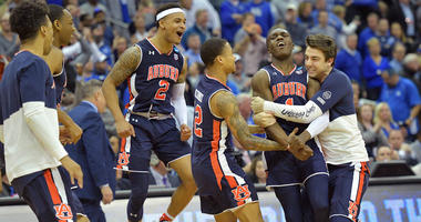 The Auburn Tigers celebrate after defeating the Kentucky Wildcats in the championship game of the midwest regional of the 2019 NCAA Tournament at Sprint Center. Mandatory Credit: Denny Medley-USA TODAY Sports
